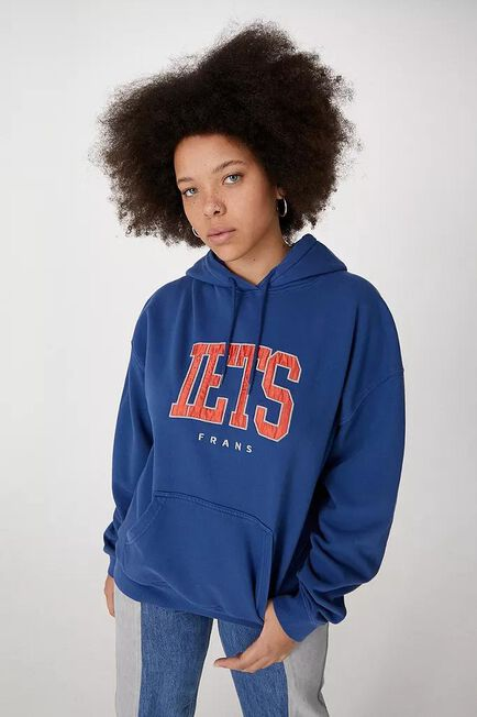 Urban Outfitters - Navy Iets Frans'.. Applique Varsity Hoodie