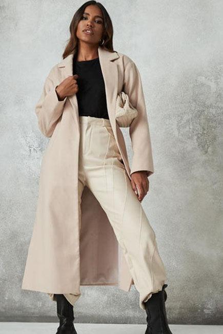 Missguided - Camel Side Split Formal Midaxi Coat