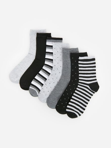 Reserved - Light Grey Cooton Rich Socks 7-Pack, Kids Boy
