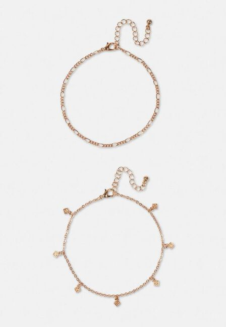Missguided - Gold Gold Look Diamante Drop Anklet