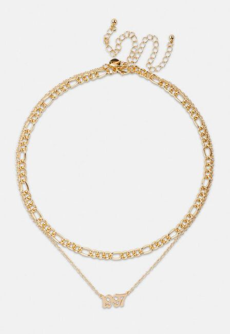 Missguided - Gold Look 1997 Gothic Year Necklaces 2 Pack, Women