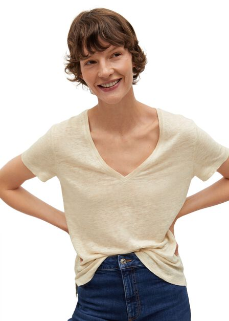 Mango - lt pastel brown 100% linen t-shirt