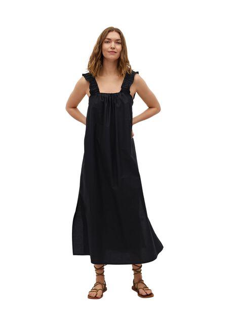 Mango - Black 100% Cotton Midi Dress, Women