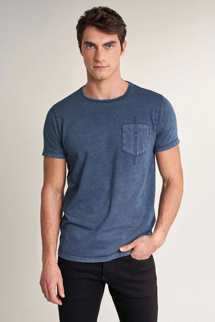 Salsa Jeans - Blue T-shirt with plant dye and pocket