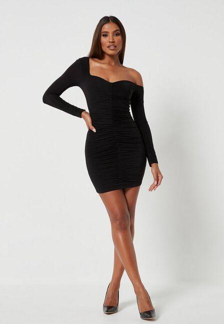 Missguided - Black Black Slinky Off Shoulder Ruched Mini Dress