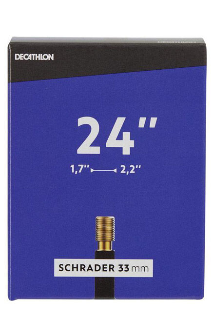 "BTWIN - 24"" 1.7 to 2.2 schrader valve inner tube, AUTO VALVE"