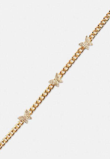 Missguided - Gold Gold Look Pave Butterfly Chain Choker