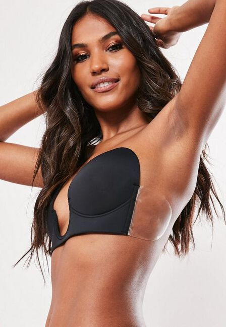 Missguided - Black Secret U Plunge Stick On Strapless Bra