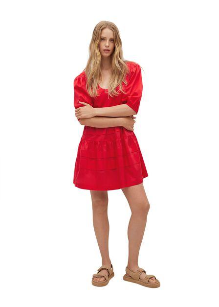 Mango - red Frill cotton dress, Women