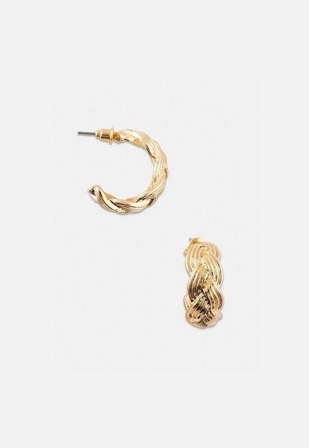 Missguided - Gold Look Plaited Hoop Earrings, Women