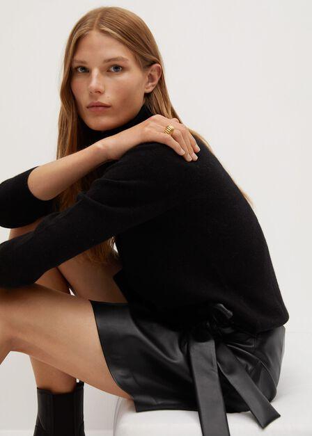 Mango - black Knot leather-effect mini skirt