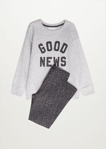 Mango - lt pastel grey Organic cotton message sweatshirt