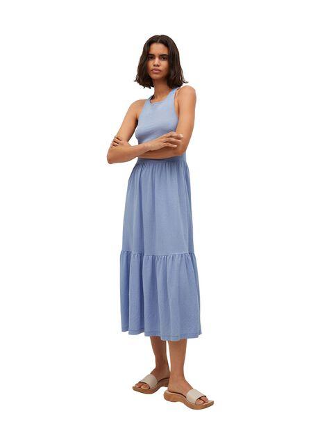 Mango - lt-pastel blue Textured ruffled dress, Women