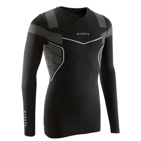 KIPSTA - Small  Keepdry 500 Adult Breathable Long Sleeve Base Layer, Black