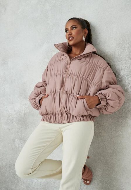 Missguided - Pink Rose High Neck Statement Puffer Coat