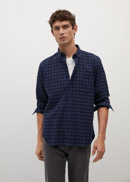 Mango - navy Regular fit checked flannel shirt