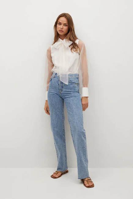 Mango - natural white Semi-transparent bow sleeve blouse, Women