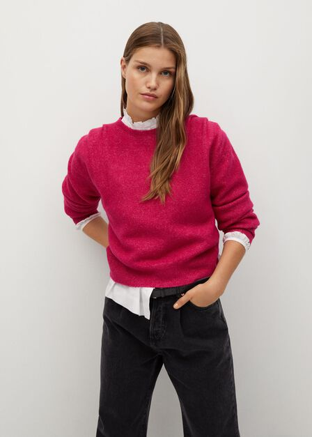 Mango - Bright Pink Pleated Knit Sweater