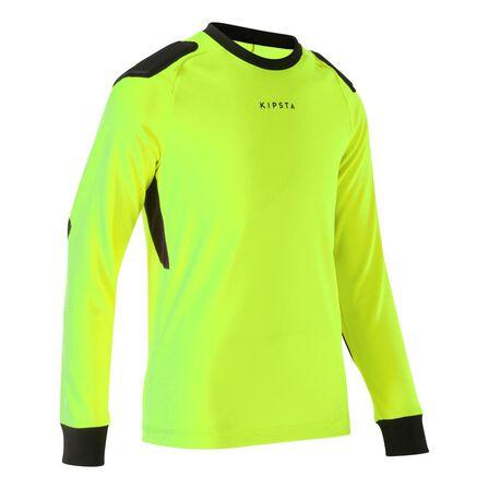KIPSTA - 14-15 Years  F100 Kids' Football Goalkeeper Shirt, Fluo Lime Yellow