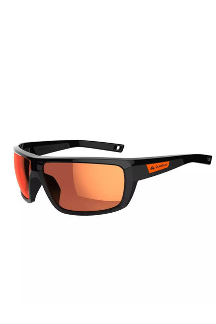 QUECHUA - Category 3 black   red mh530 adult hiking sunglasses, Unique Size