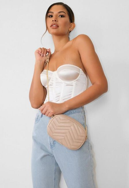 Missguided - Beige Quilted Camera Bag