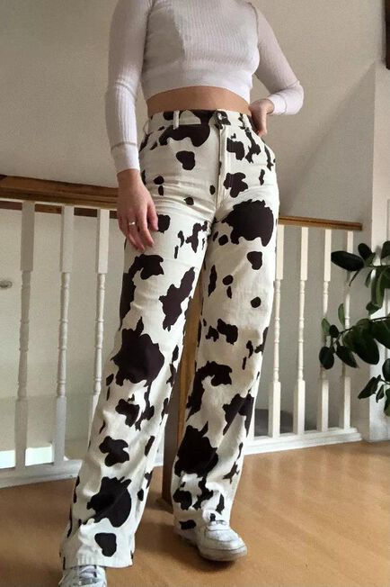 Urban Outfitters - Black Motif BDG Cow Print Juno Jeans