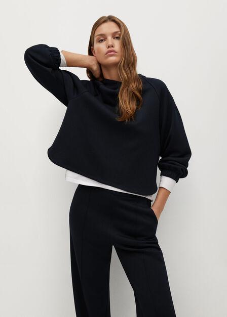 Mango - navy Pleat straight trousers