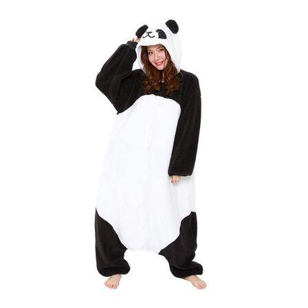 SAZAC - Kigurumi Fluffy Panda Costume White/Black