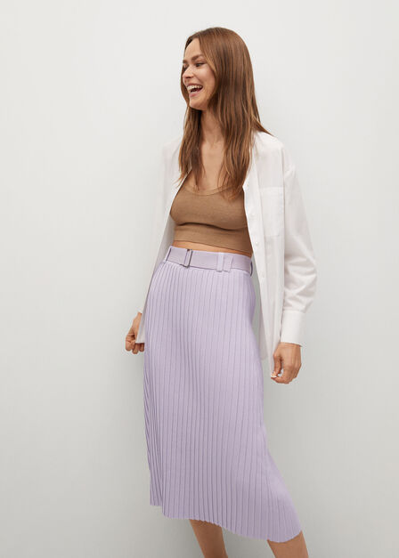 Mango - lt-pastel purple Pleated skirt with belt