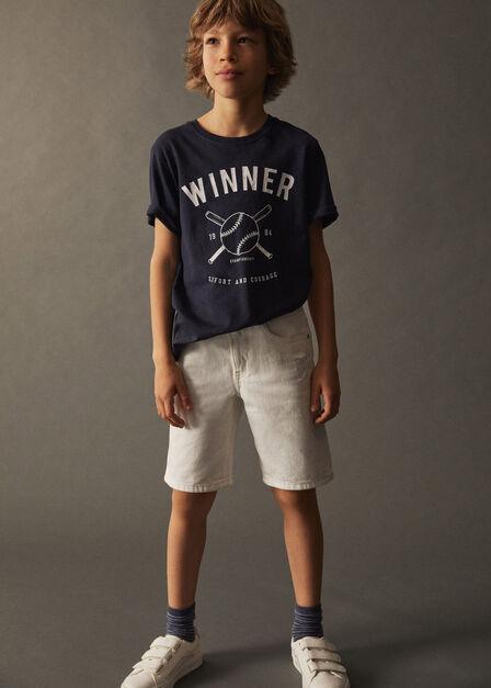 Mango - Navy Printed Cotton-Blend T-Shirt, Kids Boy