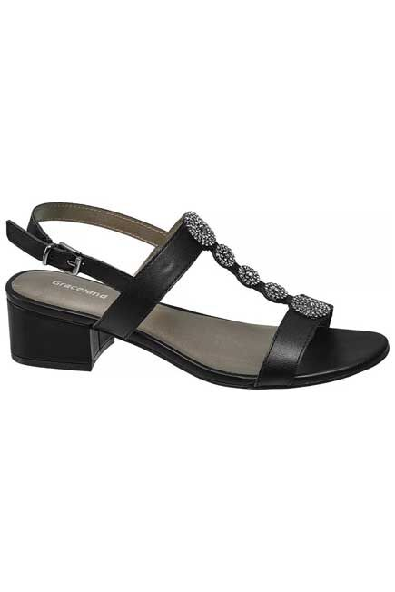 Graceland - Black T-Bar Sandals, Women