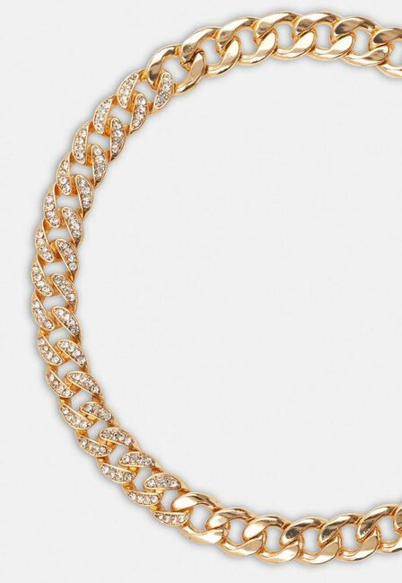 Missguided - Gold Gold Look Pave Chain Necklace