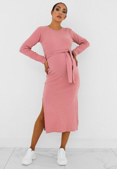 Missguided - Rose Pink Rose Rib Belted Maternity Midi Dress