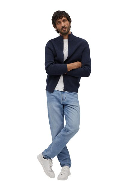Mango - medium blue Zipped cotton cardigan
