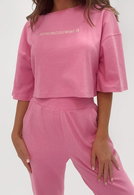 Missguided - Pink Co Ord Spring Summer Rib Cropped T Shirt