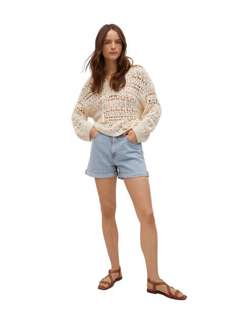Mango - open blue Mom-fit denim shorts, Woman