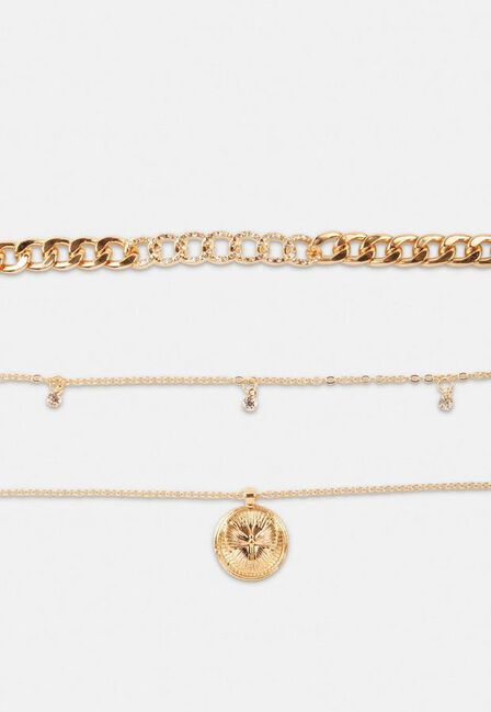 Missguided - Gold Gold Look Pave Choker And Butterfly Coin Necklace