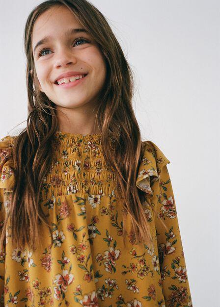 Mango - medium yellow Floral-print flowy blouse