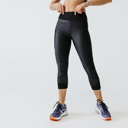 KALENJI - W24 L30 Run Dry+ Feel Women's Running Cropped Bottoms - Black