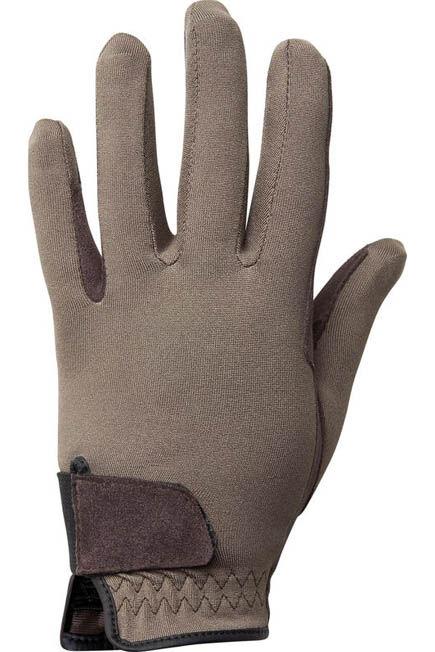 FOUGANZA - Basic children's horse riding gloves - brown, 12-14Y