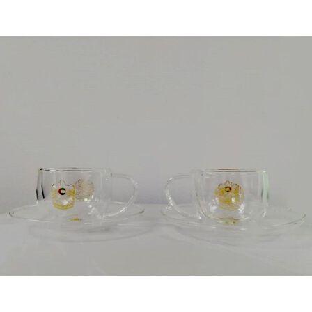 ROVATTI - Rovatti Nevoso Double Glass Esspresso Cup Gold 100ml