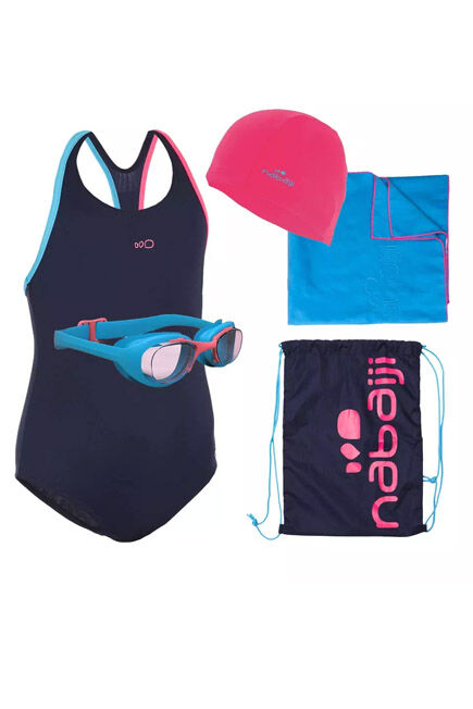 NABAIJI - Leony+ Swimming Set: Swimming Trunks, Goggles, Cap, Towel, Bag, 8-9Y