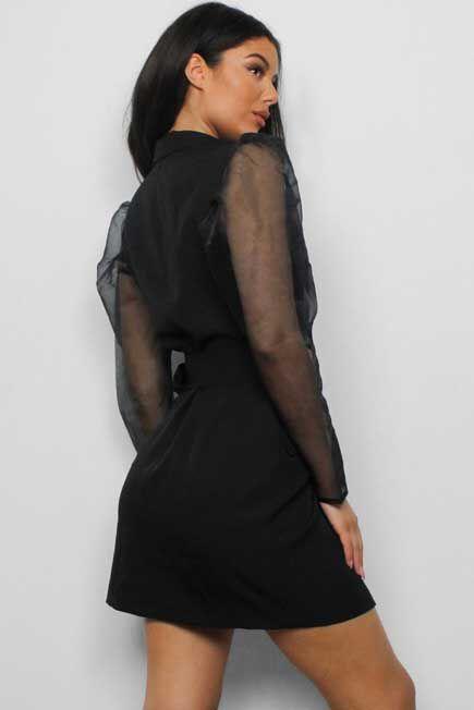 Missguided - Black Organza Sleeve Blazer Dress