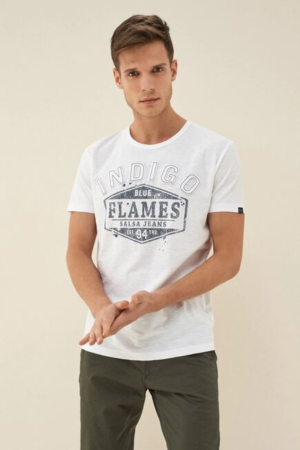 Salsa Jeans - White T-shirt with stitched-on letters
