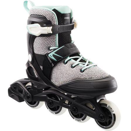 OXELO - EU 39  Fit100 Women's Inline Fitness Skates - Grey/Peppermint, Pale Grey