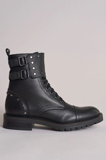 Salsa Jeans - Black Leather biker boots with studs