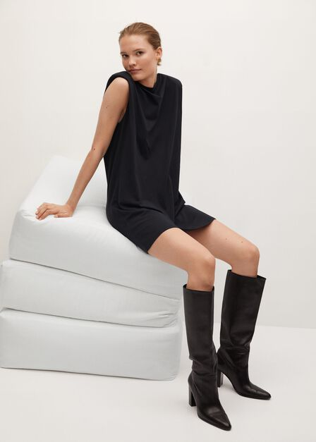 Mango - Black Shoulder Pad Dress