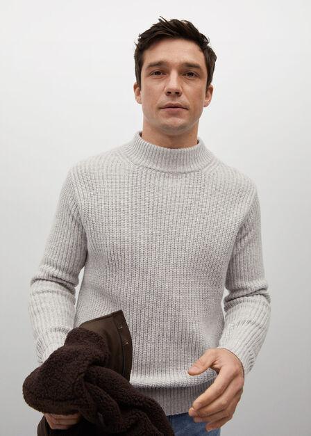 Mango - lt pastel grey High collar wool sweater