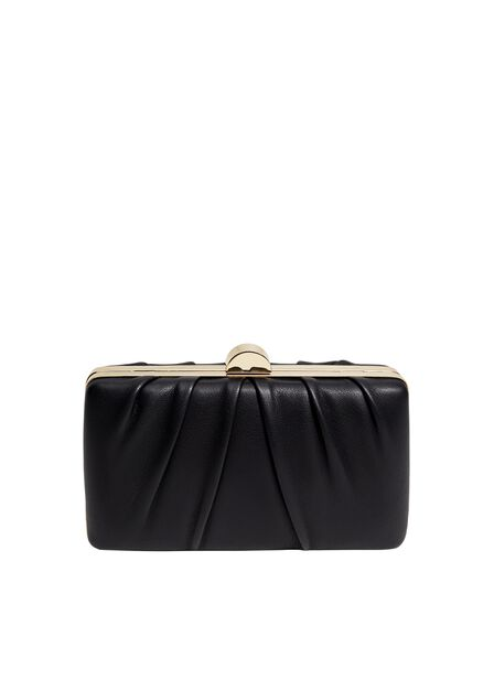 Mango - Black Pleated Detail Clutch
