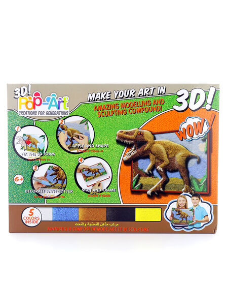 POP ART CREATION FOR GENERATION - Pop Art Sculpt-by-Numbers Art Set Dinosaurs [4 Colors]
